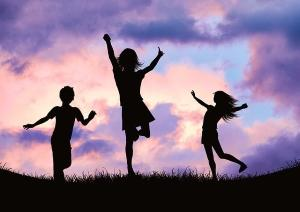 Phosphatidylserine and Sleep - What's the Connection - Children Celebrating Silhouettes